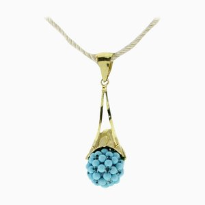 Handcrafted Pendant in Turquoise and 18 Karat Yellow Gold.