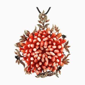 Orange / Rote Koralle, Diamant, Rubin, Saphir, Roségold und Silber Halskette