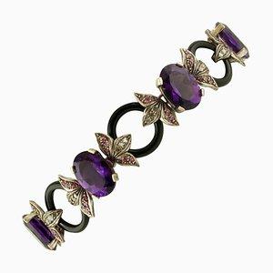 Bracciale artigianale con diamanti, rubini, pietre dure, oro rosa 9 carati e argento