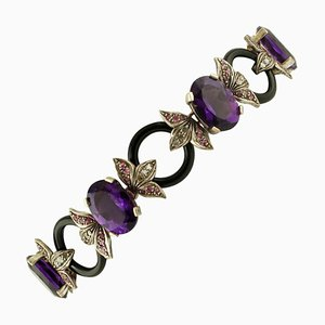 Handcrafted Bracelet with Diamond, Rubies, Hard Stones, 9 Karat Rose Gold and Silver