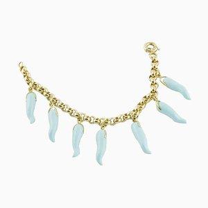 Bracelet en Pâte Turquoise et Piment Doré