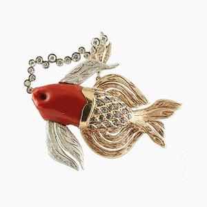 Diamanten, Blauer Saphir, Rote Koralle, 14 Karat Roségold, Fisch Halskette