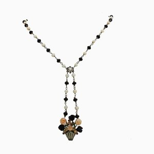 Handcrafted Necklace with Pink Coral Flowers, Onyx, Emerald, Ruby, Sapphire, Diamond, 9 Karat Rose Gold and Silver