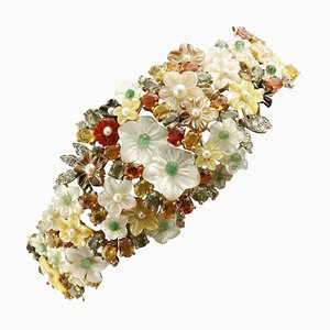Handcrafted Bracelet with Diamond, Emerald, Sapphire, Mother-of-Pearl, Carnelian, Pearl & 14 Karat White Gold