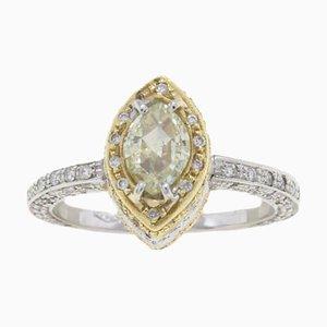 Diamond and 18 Karat White, Yellow & Rose Gold Ring