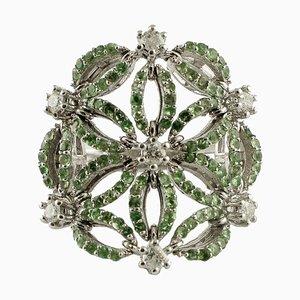Handcrafted Ring with Diamond, Tsavorite and 14 Karat White Gold