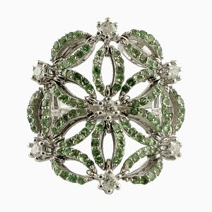 Handgefertigter Ring mit Diamant, Tsavorit und 14 Karat Weißgold