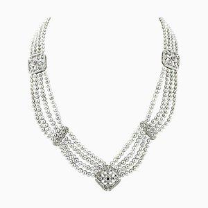 Handgefertigte Perlen Halskette mit Diamanten, blauen Saphiren, Perle und 14 Karat Weißgold