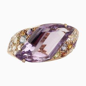 Bague Artisanale avec Diamants, Améthyste, Péridots, Topaze Orange & Bleu Clair, Iolite, Grenat & Or 18K