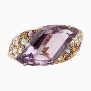 Handcrafted Ring with Diamonds, Amethyst, Peridots, Orange & Light Blue Topaz, Iolite, Garnet & 18K Gold