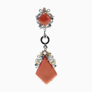 Orange / Red Corals Onyx Ring with Sapphires, Diamonds, Pearl, White/Rose Gold Pendant