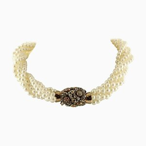 Mehrfarbige harte Steine, Perlen, Roségold, Silber Blumen Perlen Halskette
