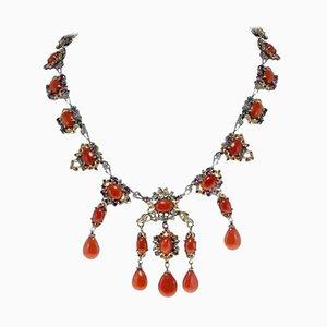 Collier Diamant, Saphir, Rubis, Émeraude, Corail Rouge, Or Rose et Argent