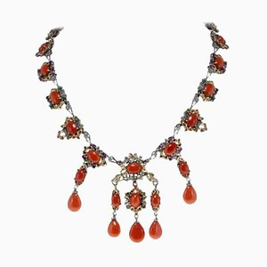 Diamond, Sapphire, Ruby, Emerald, Red Coral, Rose Gold & Silver Necklace