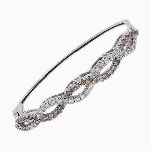 Bracelet Artisanal avec Diamant Blanc et Marron et Or Blanc 14 Carat