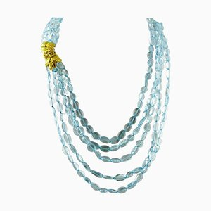 Handcrafted Multi-Strands Necklace with 257 G Rock Crystal and 18 Karat Yellow Gold Closure