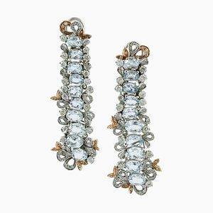 Orecchini pendenti fatti a mano in diamanti, acquamarina, 14 carati e oro rosa, set di 2
