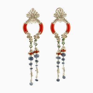 Handgefertigte Clip-on Diamanten, blaue Saphire, Smaragde, Korallen, 14K Weißgold Ohrringe, 2er Set