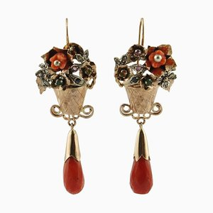 Boucles d'Oreilles Diamants Artisanaux, Émeraudes, Corail Rouge, Saphirs, Rubis, Or Rose 9 Carats et Argent, Set de 2