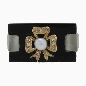 Handcrafted Ring with Ct. 1,30 Diamond, Onyx Pearl and 14 Karat White Gold