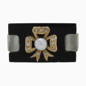 Handgefertigter Ring mit Kt. 1,30 Diamant, Onyx Perle und 14 Karat Weißgold