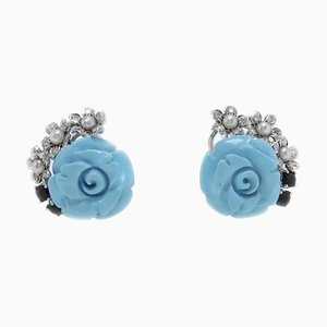 Handcrafted Clip-On Earrings with Turquoise, Pearl, Sapphires, Diamonds & 14 Karat White Gold, Set of 2