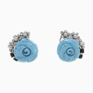 Orecchini a clip fatti a mano con turchese, perla, zaffiri, diamanti e oro bianco 14 carati, set di 2