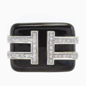 Diamant, schwarzer Emaille, Gelbgold und Platin Ring
