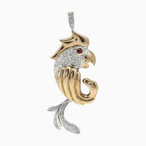 Collier à pendentif perroquet en or rose, rubis et diamant