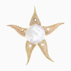Broche estrella de mar de perlas, diamantes y oro