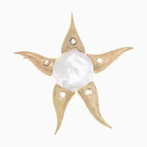 Perle, Diamant & Gold Seestern Brosche