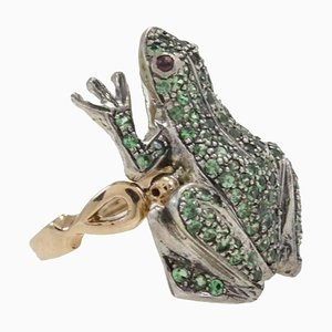 Handcrafted Tsavorite, Garnet, 9 Karat Rose Gold and Silver Frog Ring