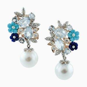 Boucles d'Oreilles Diamants, Aigue-Marine, Turquoise, Lapiz, Or Rose et Blanc, Set de 2