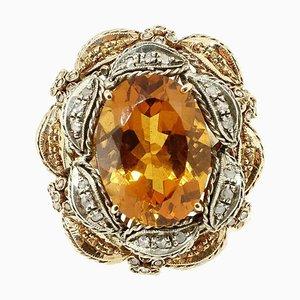 Topaz, Diamond, Silver & Gold Cocktail, Ring