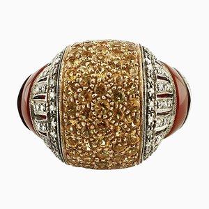 Diamanten, 3,08 Karat Gelbe Steine, Karneol, Roségold & Silber Cluster-Ring
