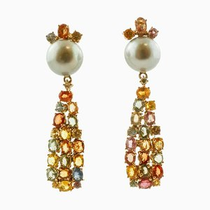 Handcrafted Drop Earrings with Diamonds, Multicolored Sapphires, Grey Pearls & 14 Karat Rose Gold, Set of 2