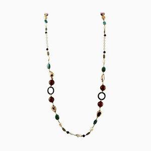 Lange Halskette aus Jaspis, Karneol, Schwarzem Achat, Perle, 9 Karat Roségold und Silber