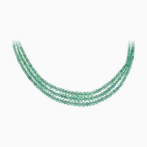 Multi-Strand Emeralds & Gold Choker Necklace