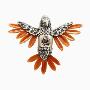 Anhänger Halskette mit Diamanten, Smaragden, Roten Korallenflügeln, Perlen, Roségold und Silber