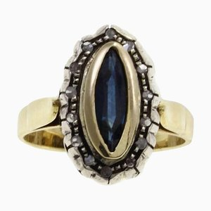 Luise Gold, Silver, Diamond and Sapphire Ring