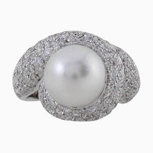 Diamond, Australian South Sea Pearl & Gold Cluster Ring