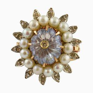 Diamant, Perle, Saphir, 9 Karat Roségold und Silber Ring