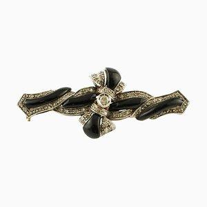 Broche Croix Artisanale avec Diamants, Onyx, Or Rose 14 Carat et Argent