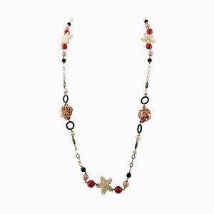 Lange Halskette aus Perle, Hartstein, 9 Karat Roségold und Silber