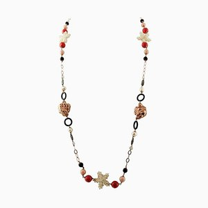 Pearl, Hard Stone, 9 Karat Rose Gold and Silver Long Necklace