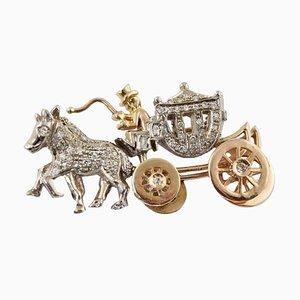 Spilla da carrozza artigianale con diamanti e oro bianco e rosa a 14 carati