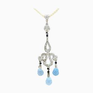 Handcrafted Pendant with Diamond, Sapphires, Aquamarine and 14 Karat White Gold