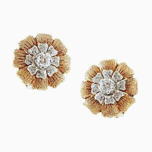 Boucles d'Oreilles en Or Jaune et Blanc 18 Carats avec Diamants Blancs, Set de 2