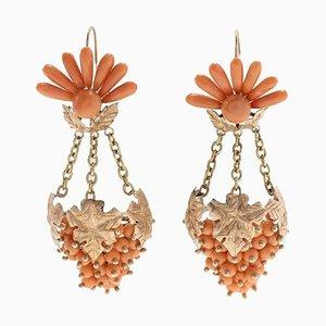 Boucles d'Oreilles Corail Orange, Lustre en Or Rose, Set de 2