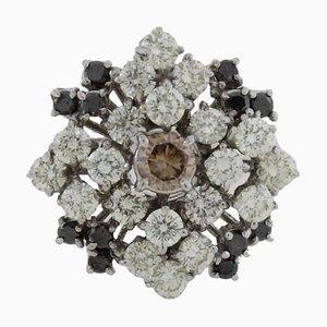 Handgefertigter Ring mit Weißen Diamanten & 18 Karat Weißgold